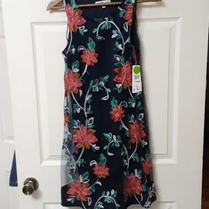 NWT Robbie Bee  PXS Navy with sheer floral dress